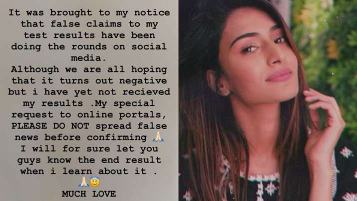 India Tv - Erica Fernandes refutes rumours of testing positive for Covid-19