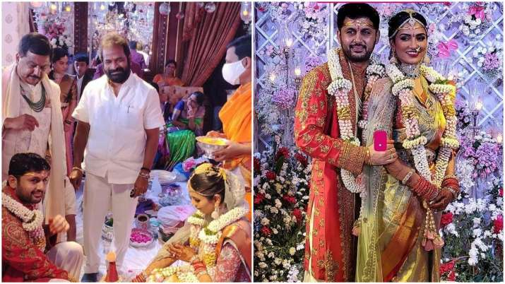 Nithiin and Shahlini pictures from marriage ceremony