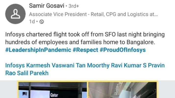 India Tv - Associate Vice President - Retail, CPG and Logistics Samir Gosavi informed in a LinkedIn post.