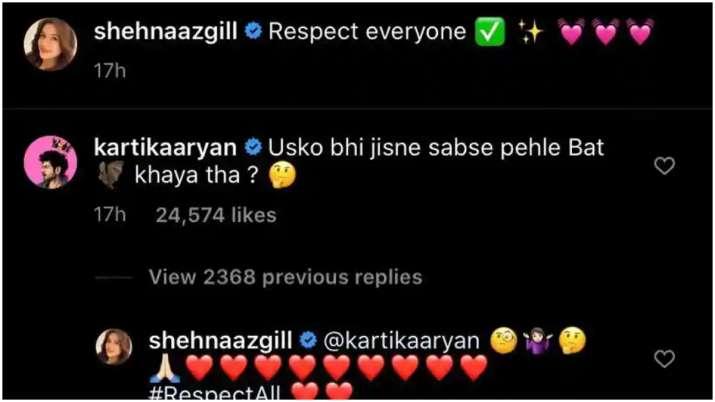 India Tv - Kartik Aaryan's comment on Shehnaaz Gill pic