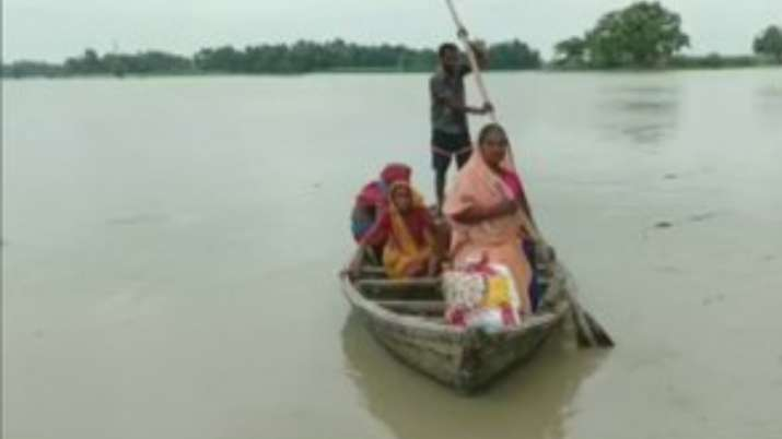 Locals of villages in five panchayats of Kusheshwar block have moved to safer places after flooding