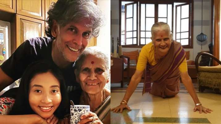 Milind Soman's mother pulls off 15 push-ups in saree to celebrate 81st birthday