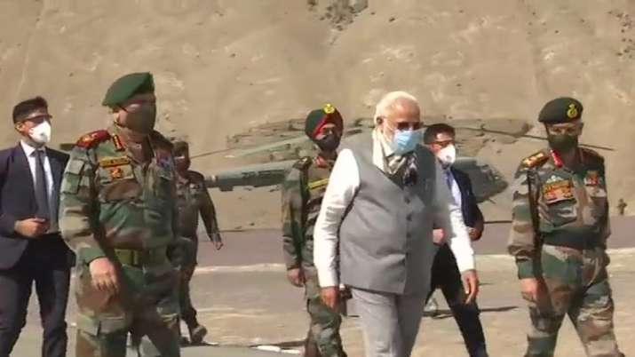 India Tv - PM Modi along with COAS Gen Naravane and CDS Gen Bipin Rawat