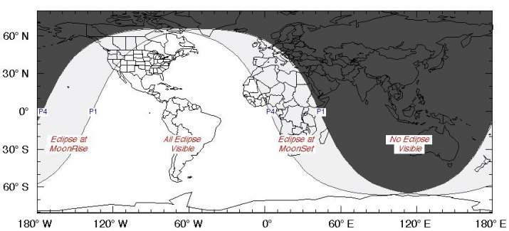 India Tv - This NASA map shows where the partial lunar eclipse of July 4-5, 2020 will be visible.