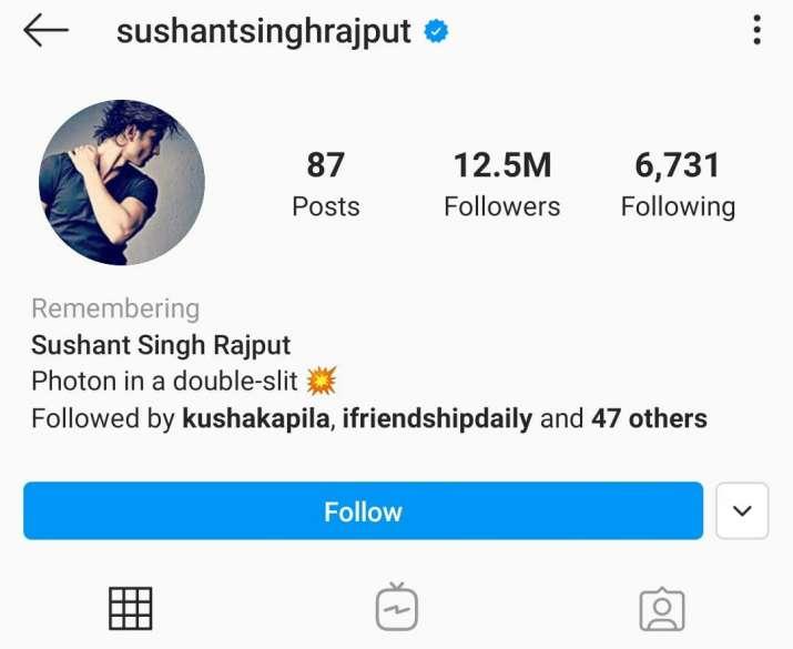 India Tv - Sushant's Instagram profile