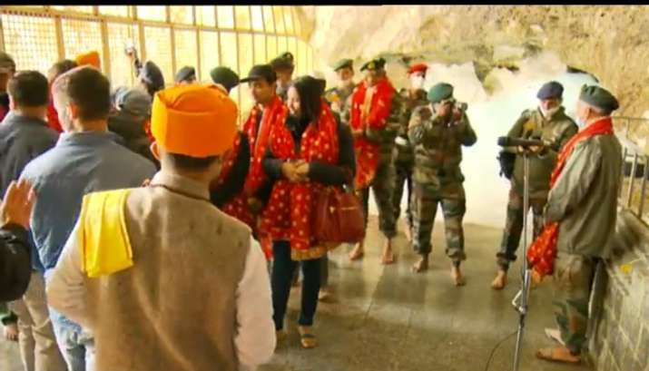 India Tv - Amarnath Yatra 2020: First visuals of yearly aarti at Amarnath cave
