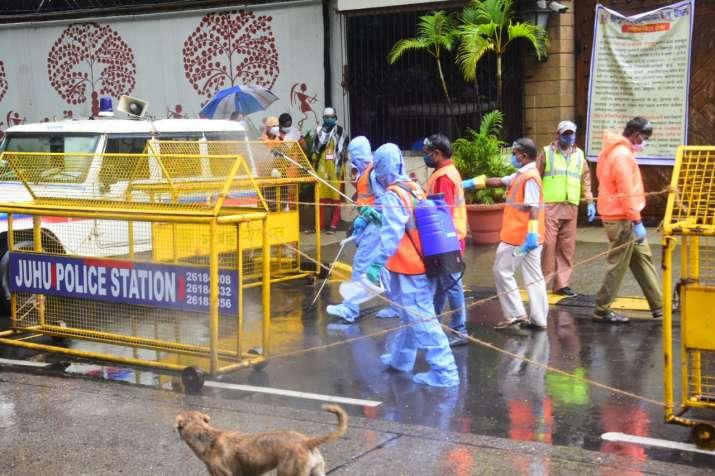 India Tv - Sanitization process outside Amitabh Bachchan's house Jalsa