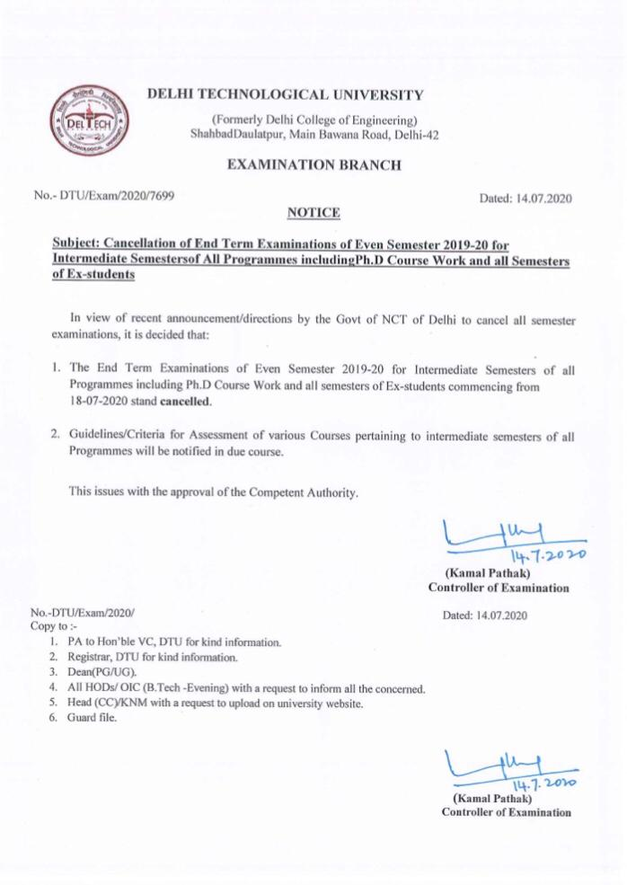 India Tv - Exam cancellation notification released by DTU
