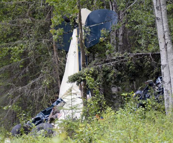 A plane rests in brush and trees after a midair collision outside of Soldotna, Alaska, on Friday, Ju