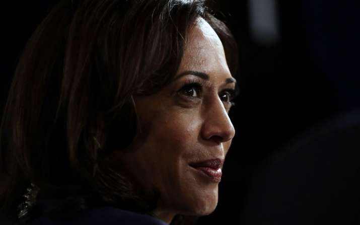 In this Sept. 12, 2019, file photo Sen. Kamala Harris, D-Calif., talks to the media in the spin room