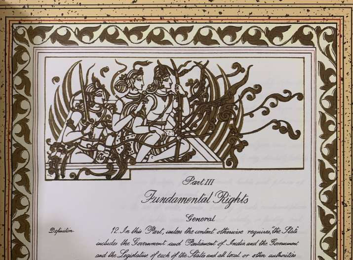 Art from original Constitution of India having Lord Rama, Sita and Laxman shared by Law Minister