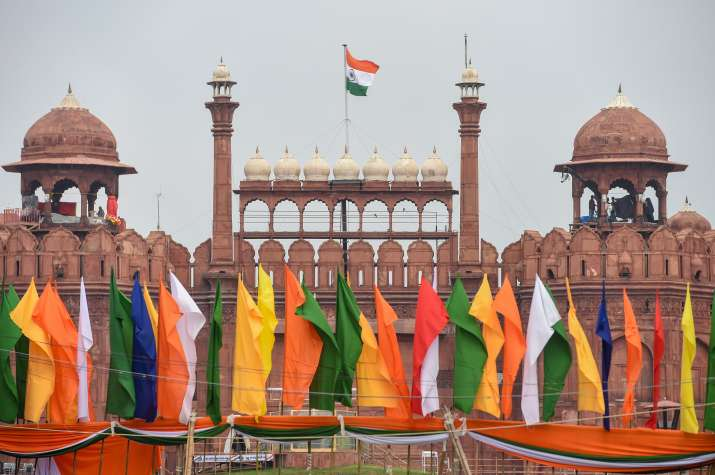 India Tv - Indian national flag flutters atop the historic Red Fort on the eve of 74th Independence Day.