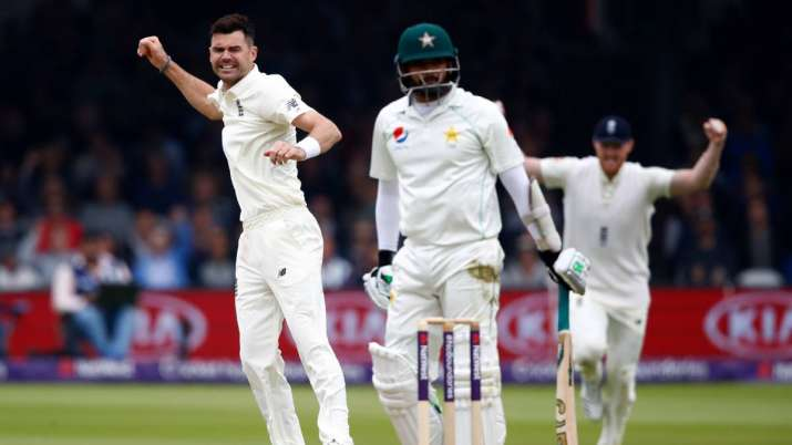 James Anderson of England celebrates taking the wicket of