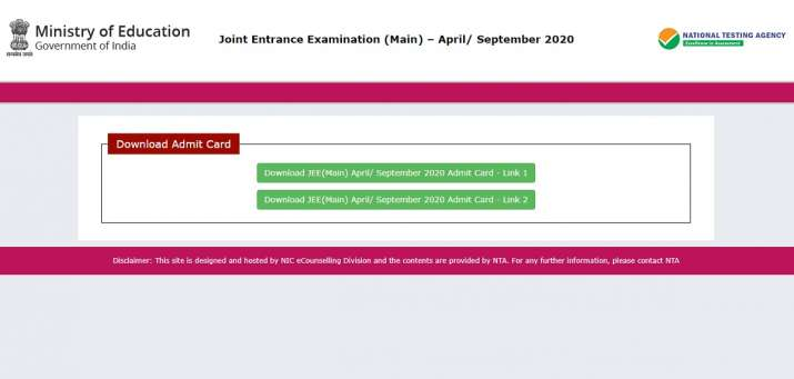 Jee Main Admit Card 2020 Released Direct Link Download Hall Ticket Jeemain Nta Nic In Career News India Tv