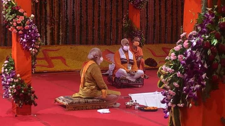 Prime Minister Narendra Modi performs Bhoomi Pujan at Ram
