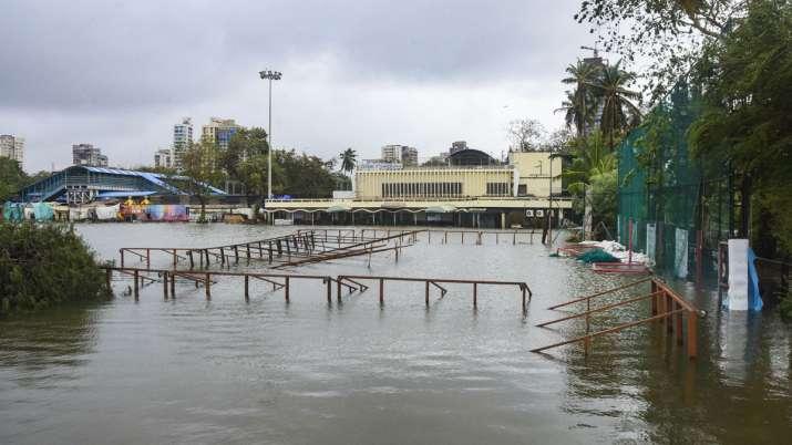 India Tv - Mumbai: Islam Gym Ground is submerged due to heavy rainfall, in Mumbai, Thursday, Aug 6, 2020. (PTI