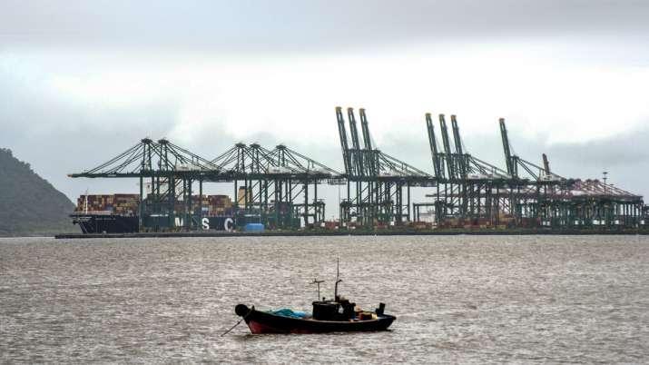 India Tv - Navi Mumbai: View of Jawaharlal Nehru Port Trust (JNPT), after three cranes collapsed following heav