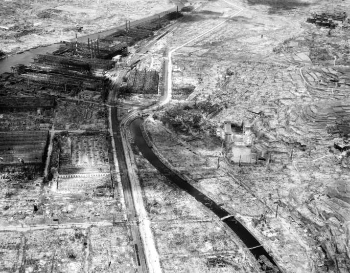 India Tv - In this Sept. 4, 1945, file photo shows an entire section of Nagasaki gutted by one atomic bomb drop