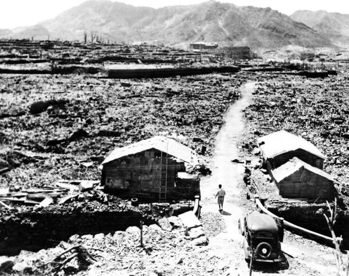 India Tv - This Sept. 14, 1945, file photo shows shacks made from scraps of debris from buildings that were lev