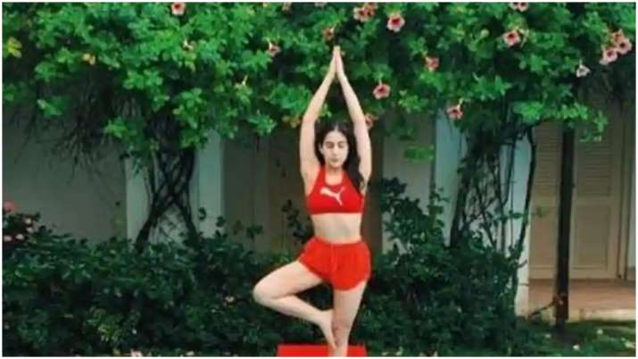 'If only peace, serenity and green truly made you wiser', says Sara Ali Khan as she does yoga by swi
