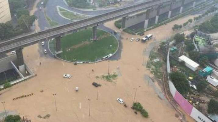 India Tv - Several posh and high profile regions of Gurugram submerged after heavy downpour