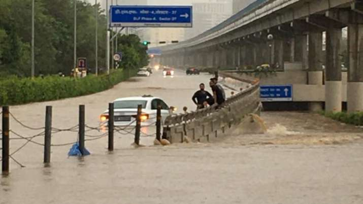 India Tv - Waterlogged roads after heavy downpour on Wednesday