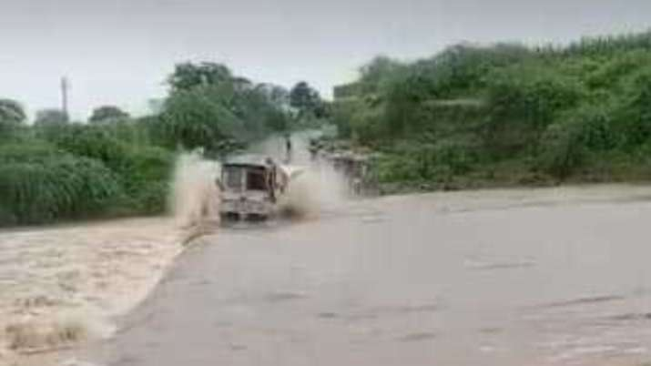 Truck swept away in rain-fed river in Banswara; video surfaces