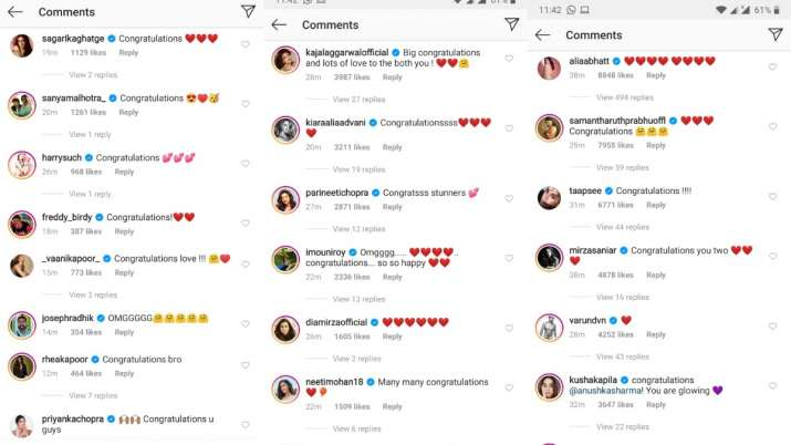 India Tv - Alia, Varun and other celebrities pour in wishes for Anushka and Virat