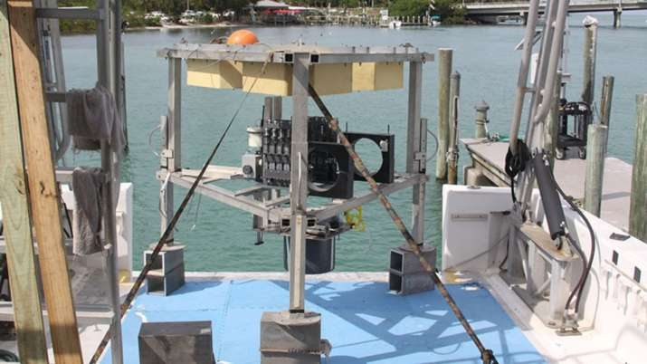 Specifically designed for this project, the benthic lander was deployed to the bottom of Amberjack H