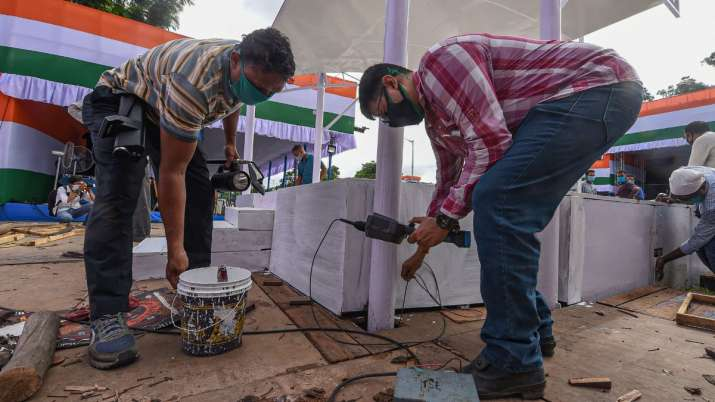 India Tv - Security persons inspect the area as part of preparations on the eve of 74th Independence Day, at Re