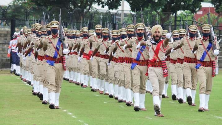 India Tv - Haryana Men police contingent participate in the full dress rehearsals for the 74th Independence Day