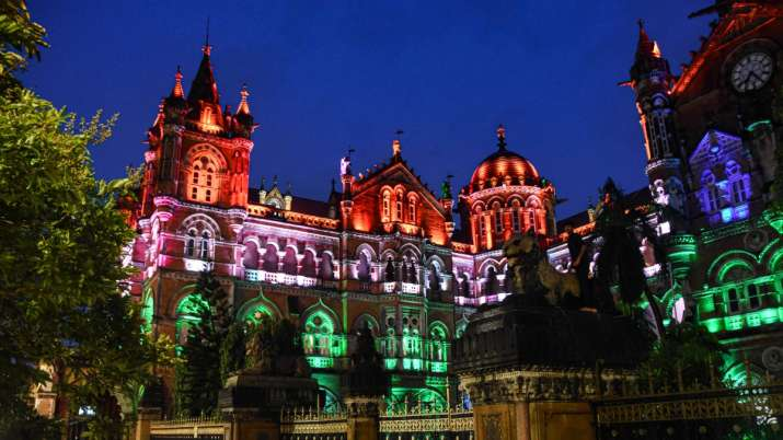 India Tv - Chhatrapati Shivaji Maharaj Terminus lit up in tricolours ahead of the 74th Independence Day, in Mum