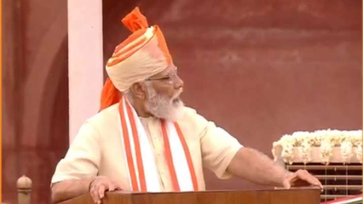 India Tv - PM Narendra Modi addresses the nation from the ramparts of the Red Fort, on 74th Independence Day to