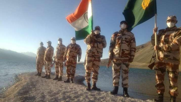 India Tv - Indo-Tibetan Border Police (ITBP) jawans celebrate IndependenceDay on the banks of Pangong Tso lake,