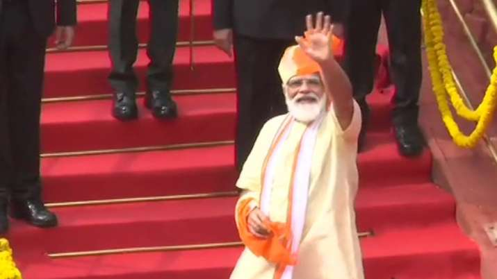 India Tv - Prime Minister Narendra Modi leaves from the Red Fort after addressing the nation on 74th Independen