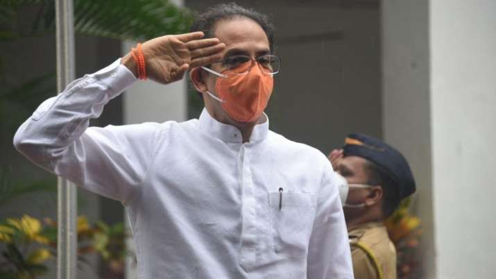 India Tv - Chief Minister Uddhav Thackeray hoists the National Flag at Varsha Bungalow, his official residence