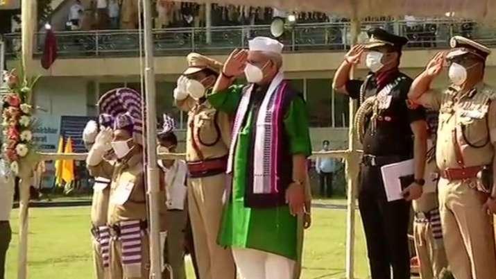 India Tv - Lieutenant Governor Manoj Sinha hoists the National Flag in Srinagar.