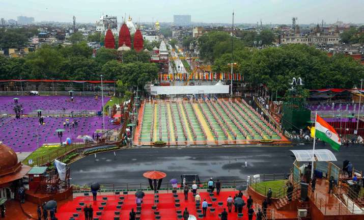 New Delhi: Seating arrangements at the historic Red Fort