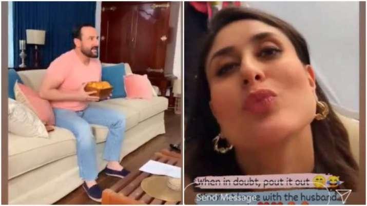 Saif Ali Khan shoots at home while Kareena Kapoor can't stop pouting, watch video