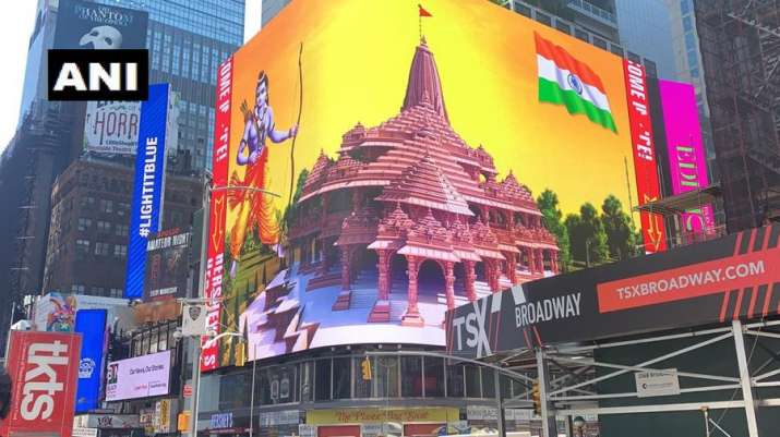 A billboard with an image of Lord Ram along with the Ram Mandir has gone live on New York's iconic Times Square as part of the Bhoomi Pujan celebratio
