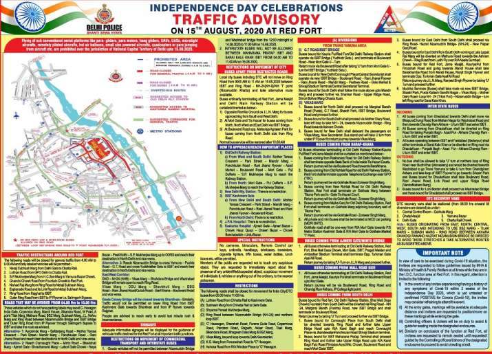 India Tv - Delhi Traffic Advisory for Independence Day