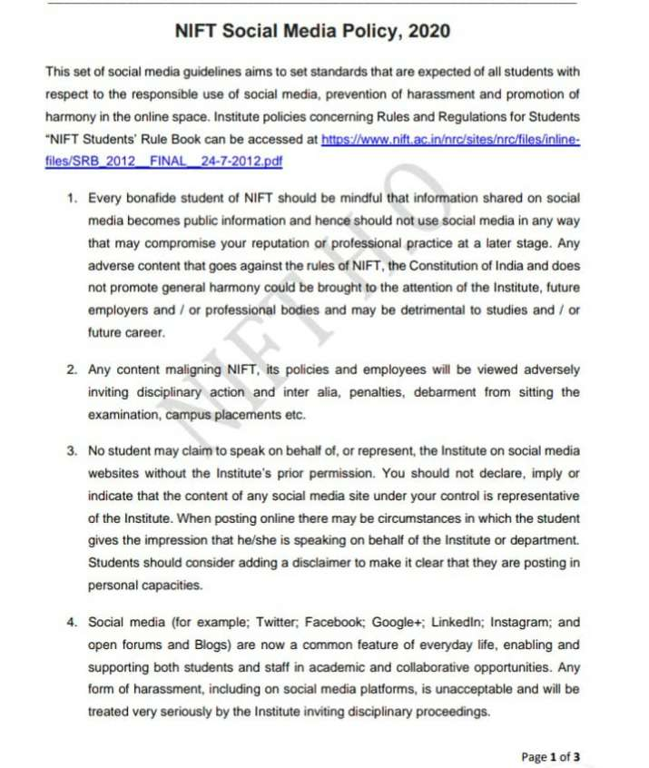 India Tv - Excerpts from the social media policy issued by NIFT
