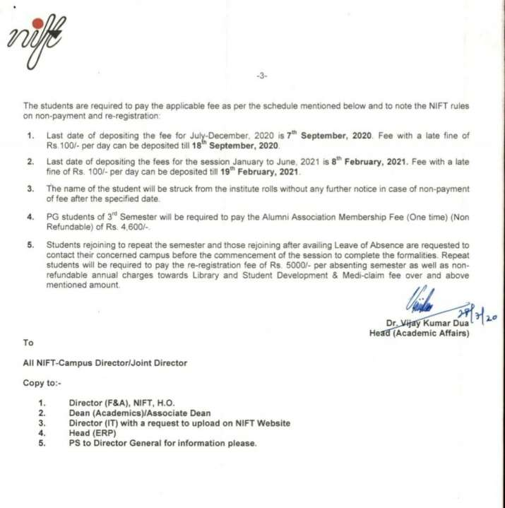 India Tv - NIFT issued fee structure for this semester