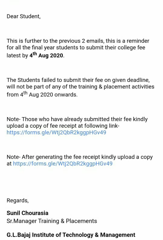 India Tv - One of the mails sent to the students