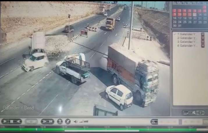Video: Horrific visuals from Srinagar-Jammu highway show car getting crushed by truck; 2 dead