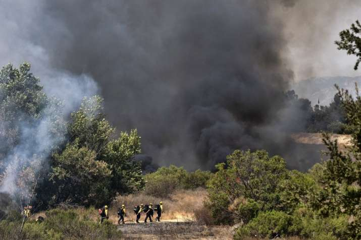 Los Angeles Fire Department firefighters hike into the Sepulveda Basin to fight a brush fire in the