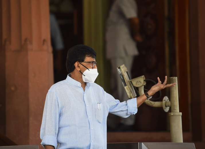 Shiv Sena leader Sanjay Raut outside Parliament ahead of the monsoon session.