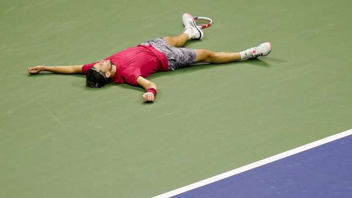 Dominic Thiem, of Austria, reacts after defeating Alexander