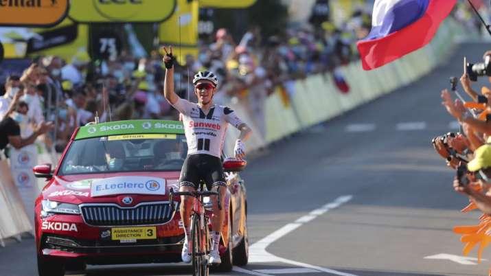 Denmark's Soren Kragh Andersen celebrates as he crosses the