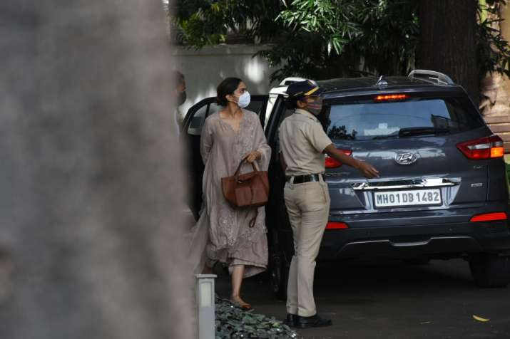 India Tv - Deepika Padukone stepping out of her car as she reached NCB office for questioning in drug case.